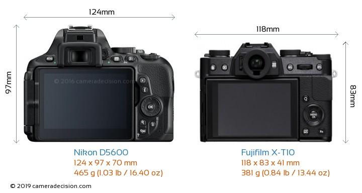 Nikon D5600 vs Fujifilm X-T10 Camera Size Comparison - Back View
