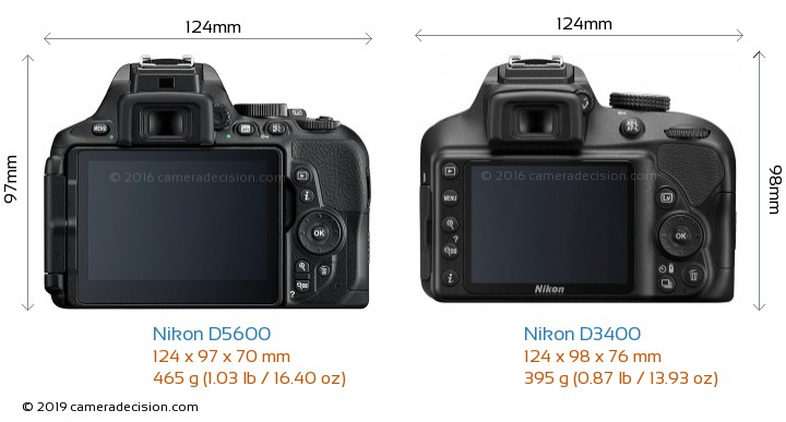 Nikon D5600 vs Nikon D3400 Camera Size Comparison - Back View