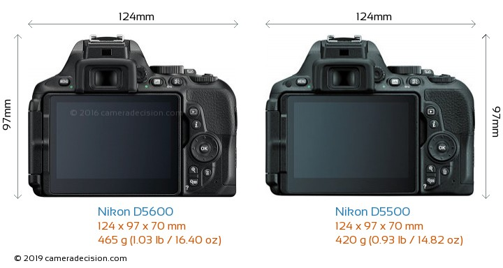 Nikon D5600 vs Nikon D5500 Camera Size Comparison - Back View