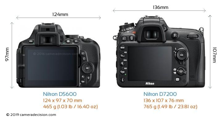 Nikon D5600 vs Nikon D7200 Camera Size Comparison - Back View
