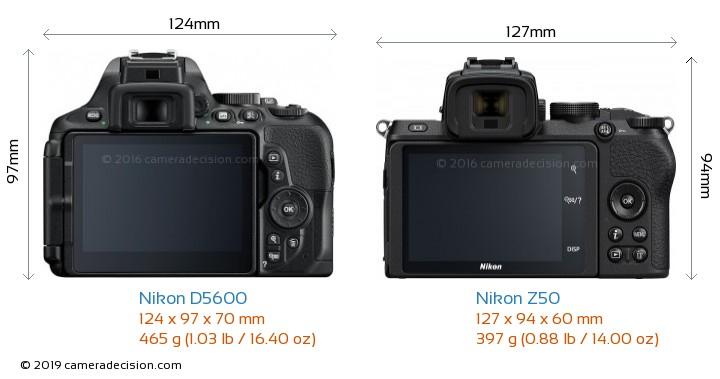 Nikon D5600 vs Nikon Z50 Camera Size Comparison - Back View