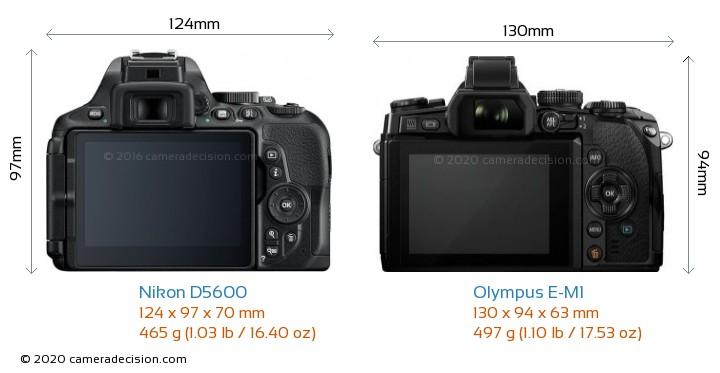 Nikon D5600 vs Olympus E-M1 Camera Size Comparison - Back View