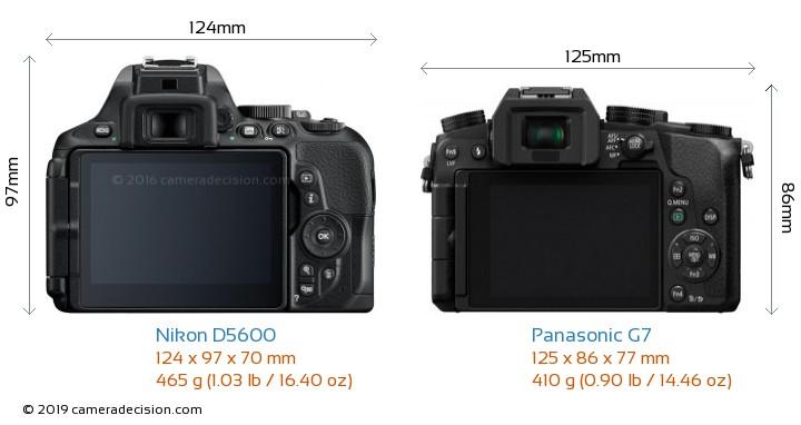 Nikon D5600 vs Panasonic G7 Camera Size Comparison - Back View