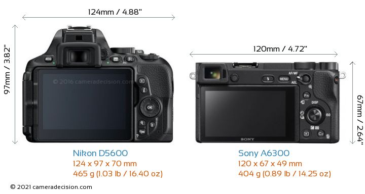Nikon D5600 vs Sony A6300 Camera Size Comparison - Back View
