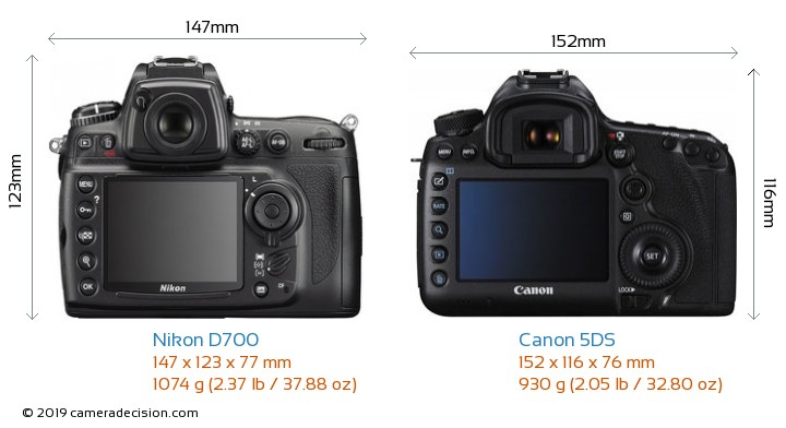 Nikon D700 vs Canon 5DS Camera Size Comparison - Back View