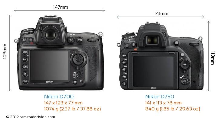Nikon D700 vs Nikon D750 Camera Size Comparison - Back View