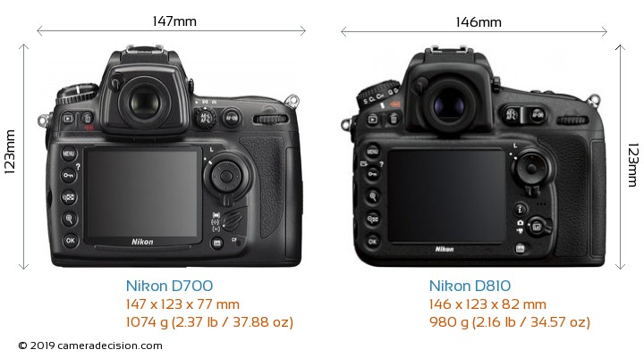 Nikon D700 vs Nikon D810 Camera Size Comparison - Back View