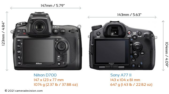 Nikon D700 vs Sony A77 II Camera Size Comparison - Back View