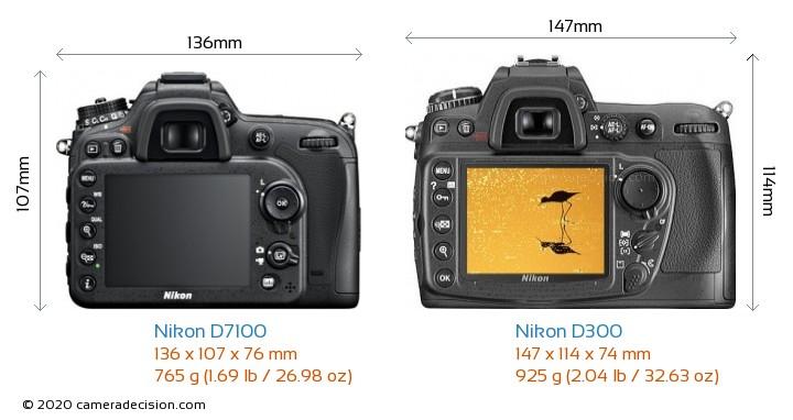 Nikon D7100 vs Nikon D300 Camera Size Comparison - Back View