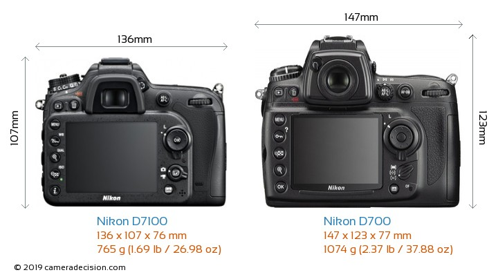 Nikon D7100 vs Nikon D700 Camera Size Comparison - Back View