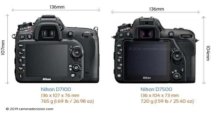 Nikon D7100 vs Nikon D7500 Camera Size Comparison - Back View