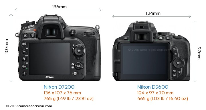 Nikon D7200 vs Nikon D5600 Camera Size Comparison - Back View