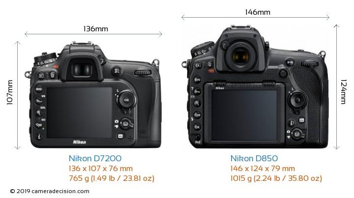 Nikon D7200 vs Nikon D850 Camera Size Comparison - Back View