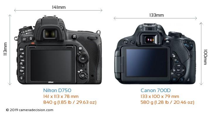 Nikon D750 vs Canon 700D Camera Size Comparison - Back View