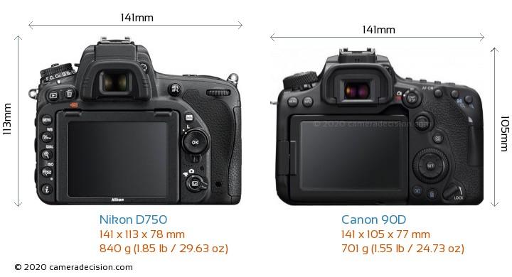 Nikon D750 vs Canon 90D Camera Size Comparison - Back View