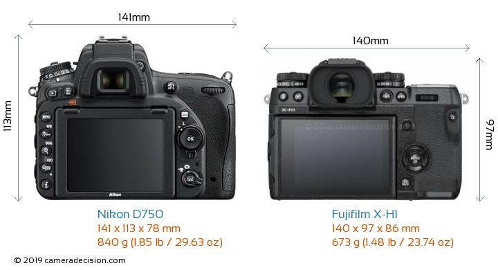 Nikon D750 vs Fujifilm X-H1 Camera Size Comparison - Back View