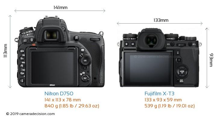 Nikon D750 vs Fujifilm X-T3 Camera Size Comparison - Back View