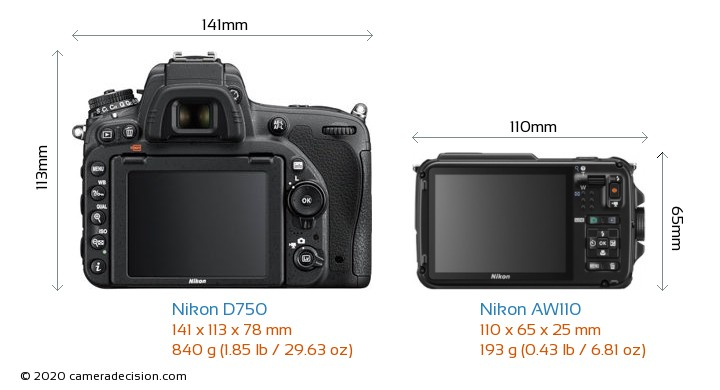Nikon D750 vs Nikon AW110 Camera Size Comparison - Back View