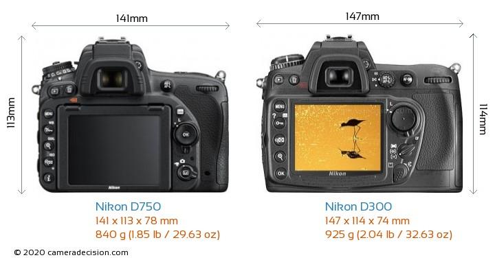 Nikon D750 vs Nikon D300 Camera Size Comparison - Back View