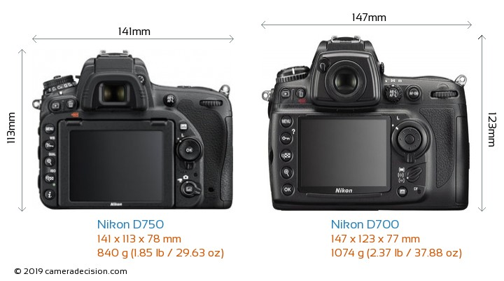 Nikon D750 vs Nikon D700 Camera Size Comparison - Back View