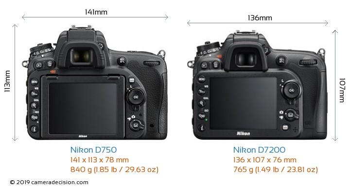 Nikon D750 vs Nikon D7200 Camera Size Comparison - Back View