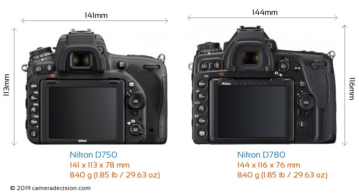 Nikon D750 vs Nikon D780 Camera Size Comparison - Back View