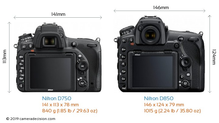 Nikon D750 vs Nikon D850 Camera Size Comparison - Back View