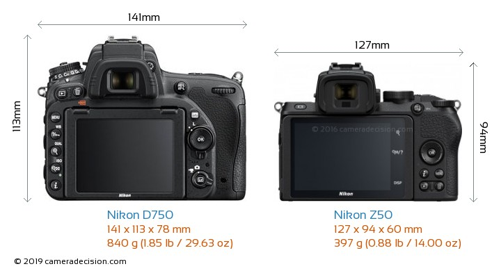 Nikon D750 vs Nikon Z50 Camera Size Comparison - Back View
