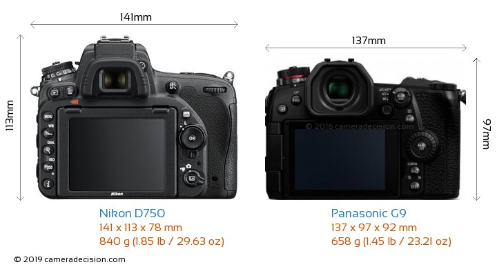 Nikon D750 vs Panasonic G9 Camera Size Comparison - Back View