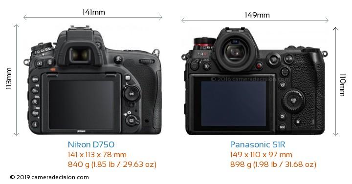 Nikon D750 vs Panasonic S1R Camera Size Comparison - Back View