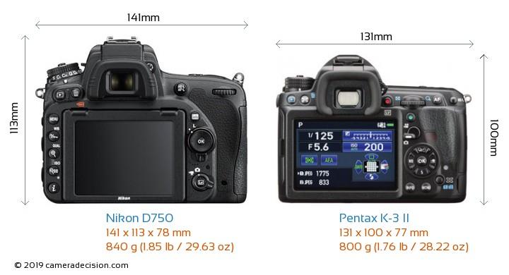 Nikon D750 vs Pentax K-3 II Camera Size Comparison - Back View