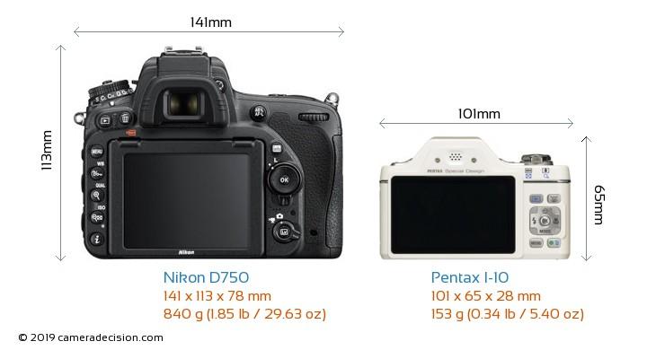 Nikon D750 vs Pentax I-10 Camera Size Comparison - Back View