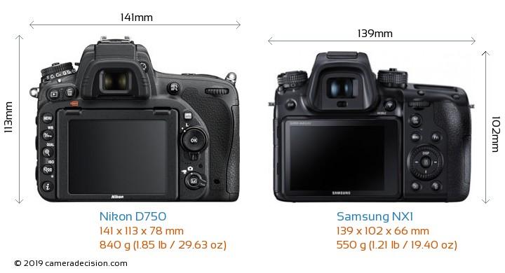 Nikon D750 vs Samsung NX1 Camera Size Comparison - Back View