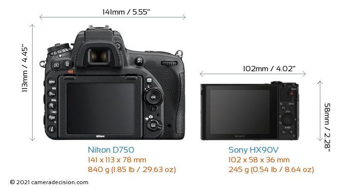 Nikon D750 vs Sony HX90V Camera Size Comparison - Back View