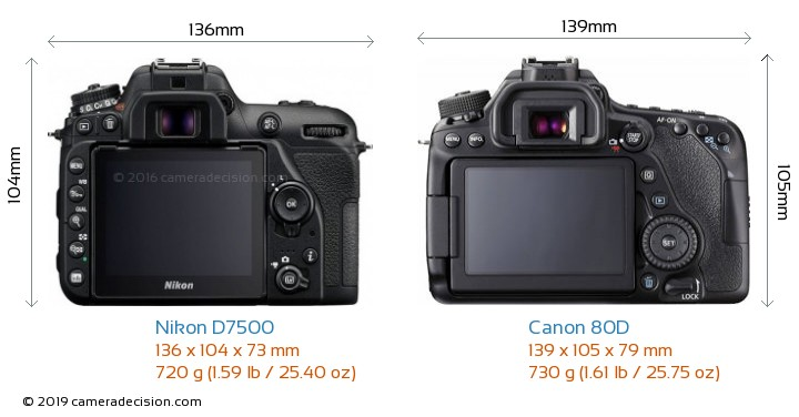 Nikon D7500 vs Canon 80D Camera Size Comparison - Back View