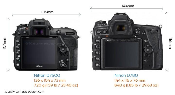 Nikon D7500 vs Nikon D780 Camera Size Comparison - Back View