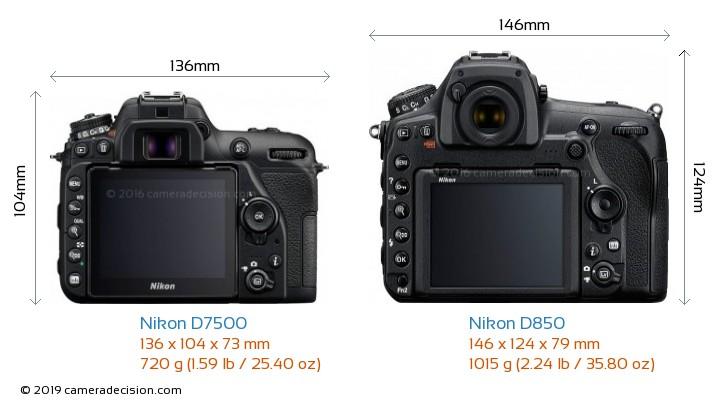 Nikon D7500 vs Nikon D850 Camera Size Comparison - Back View