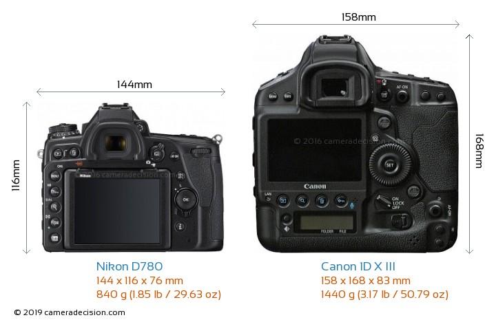 Nikon D780 vs Canon 1D X III Camera Size Comparison - Back View