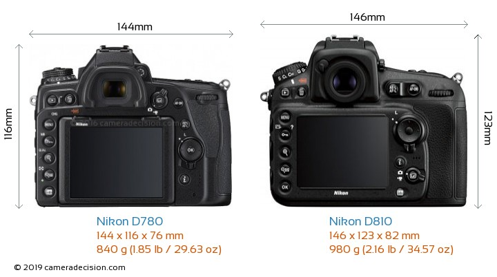 Nikon D780 vs Nikon D810 Camera Size Comparison - Back View