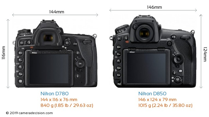 Nikon D780 vs Nikon D850 Camera Size Comparison - Back View