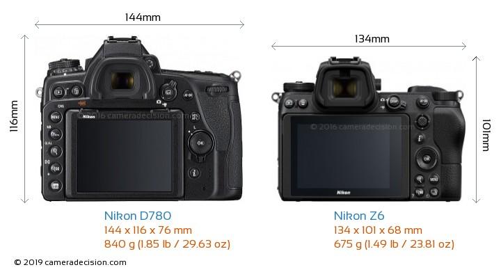 Nikon D780 vs Nikon Z6 Camera Size Comparison - Back View