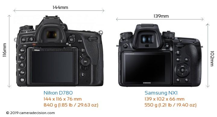 Nikon D780 vs Samsung NX1 Camera Size Comparison - Back View