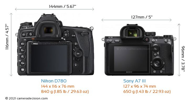 Nikon D780 vs Sony A7 III Camera Size Comparison - Back View