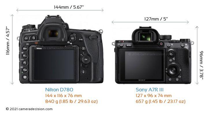 Nikon D780 vs Sony A7R III Camera Size Comparison - Back View