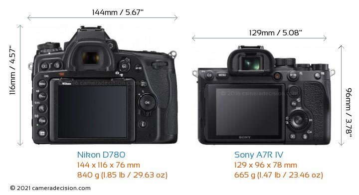 Nikon D780 vs Sony A7R IV Camera Size Comparison - Back View