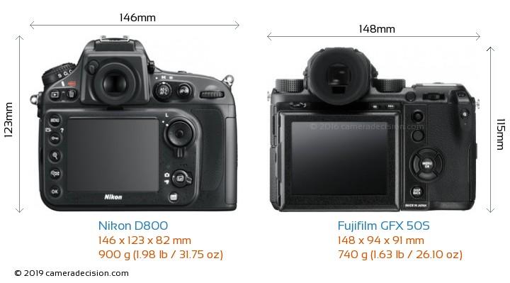 Nikon D800 vs Fujifilm GFX 50S Camera Size Comparison - Back View