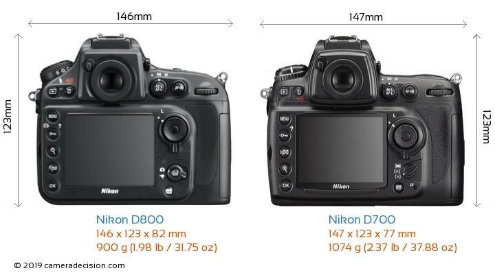 Nikon D800 vs Nikon D700 Camera Size Comparison - Back View