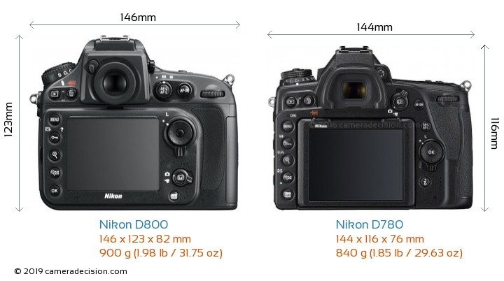 Nikon D800 vs Nikon D780 Camera Size Comparison - Back View