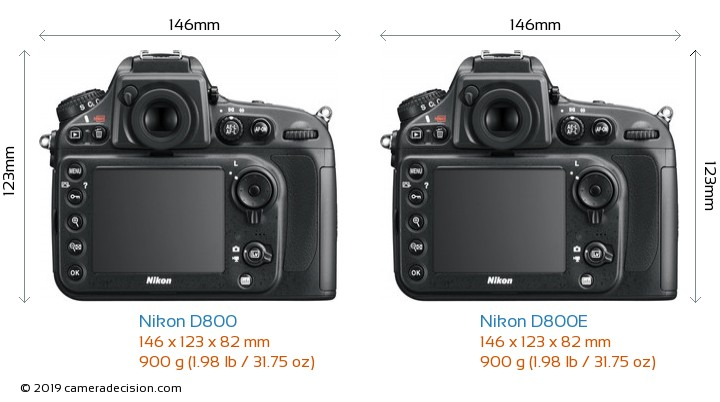 Nikon D800 vs Nikon D800E Camera Size Comparison - Back View