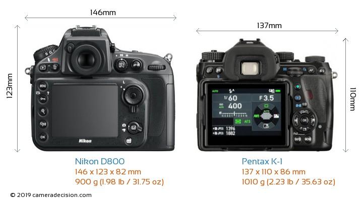 Nikon D800 vs Pentax K-1 Camera Size Comparison - Back View